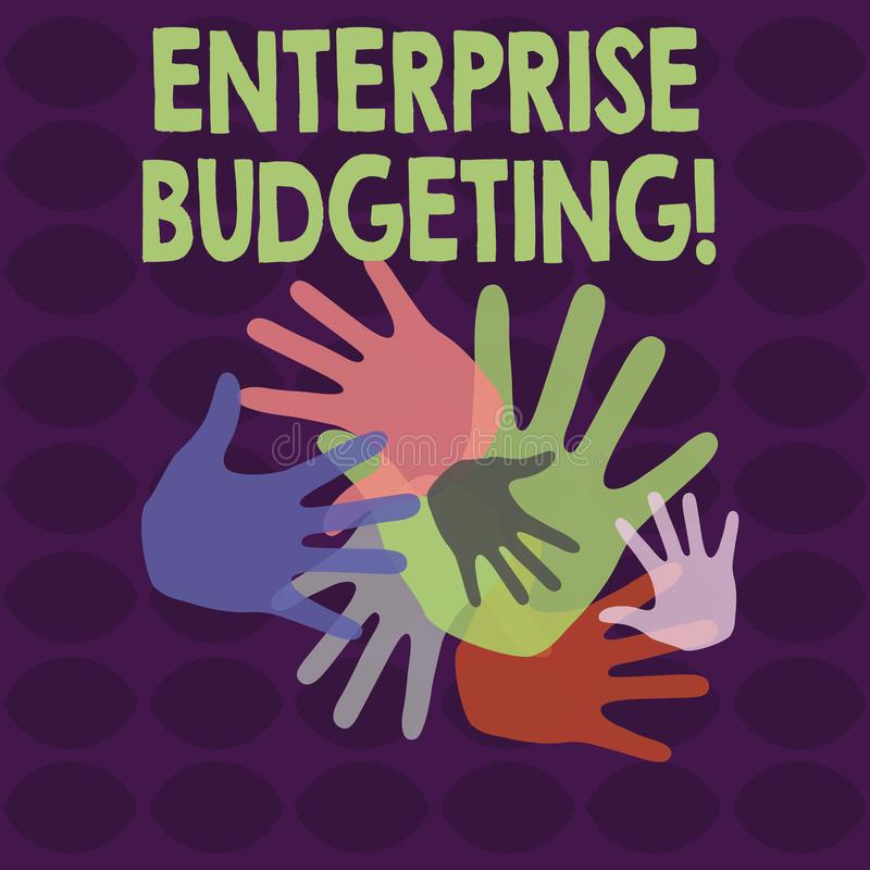Writing note showing Enterprise Budgeting. Business photo showcasing estimated income and expenses associated in. Writing note showing Enterprise Budgeting royalty free illustration