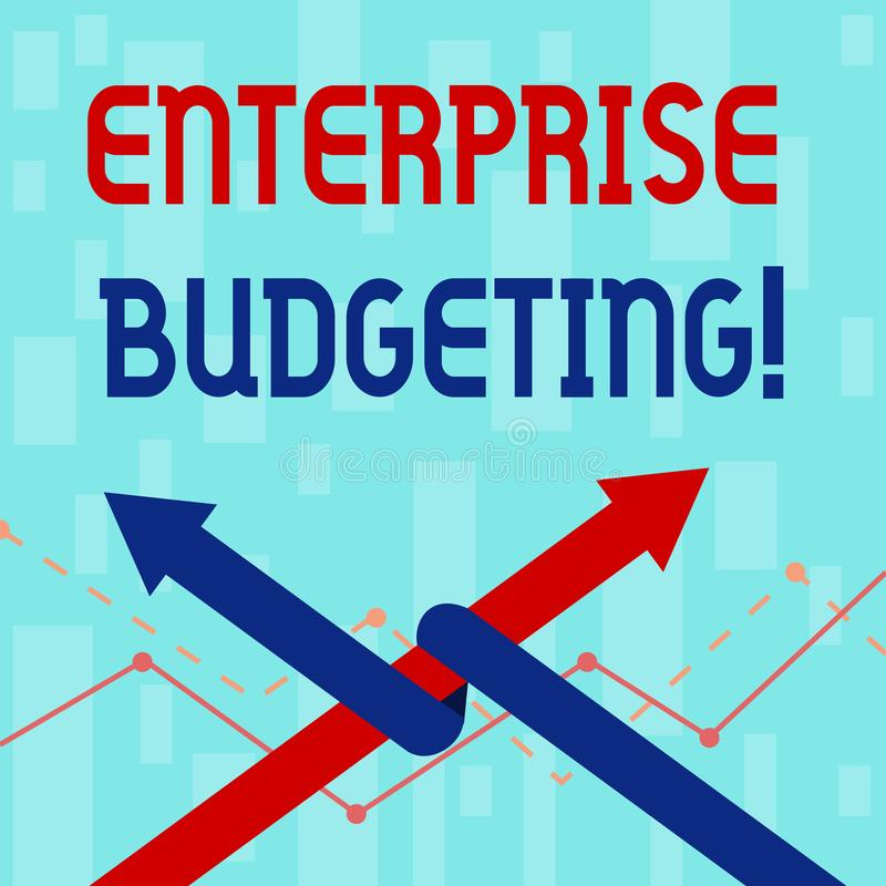 Writing note showing Enterprise Budgeting. Business photo showcasing estimated income and expenses associated in. Writing note showing Enterprise Budgeting stock illustration