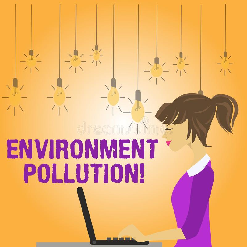 Writing note showing Environment Pollution. Business photo showcasing The contaminants into the natural environment. Writing note showing Environment Pollution royalty free illustration