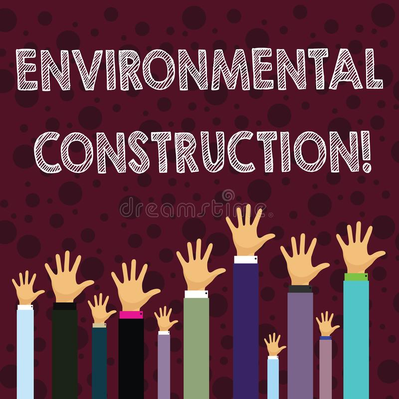 Writing note showing Environmental Construction. Business photo showcasing knowledgeable about sustainable building royalty free illustration
