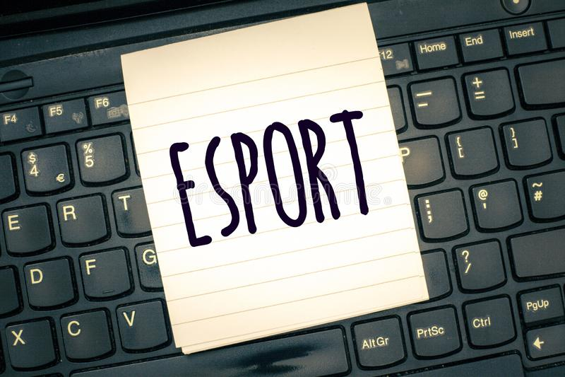 Writing note showing Esport. Business photo showcasing multiplayer video game played competitively for spectators and. Fun stock images