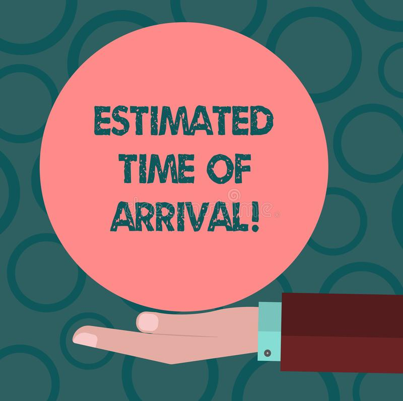 Writing note showing Estimated Time Of Arrival. Business photo showcasing Hours at which a flight is supposed to arrive. Hu analysis Hand Offering Solid Color royalty free illustration