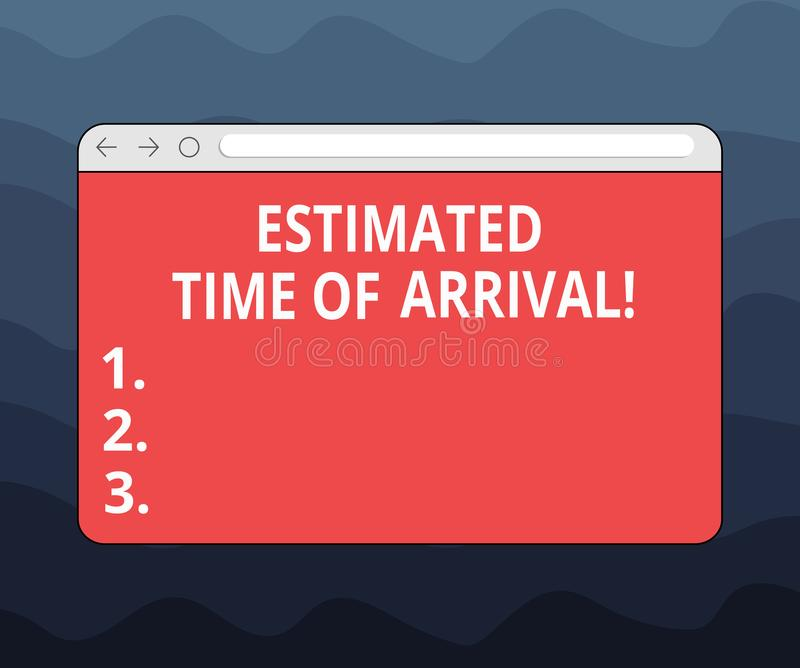 Writing note showing Estimated Time Of Arrival. Business photo showcasing Hours at which a flight is supposed to arrive. Monitor Screen with Progress Control royalty free illustration