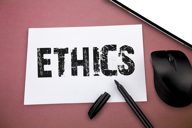 Writing note showing Ethics. Business photo showcasing moral principles that govern person behaviour or conducting. Activity royalty free stock image