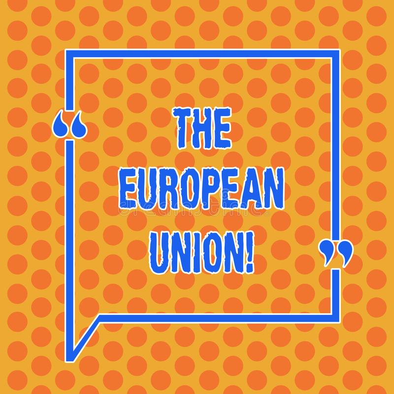 Writing note showing The European Union. Business photo showcasing EU to which the member states of the EEC are evolving Round. Punch Holes Small Color Circles vector illustration