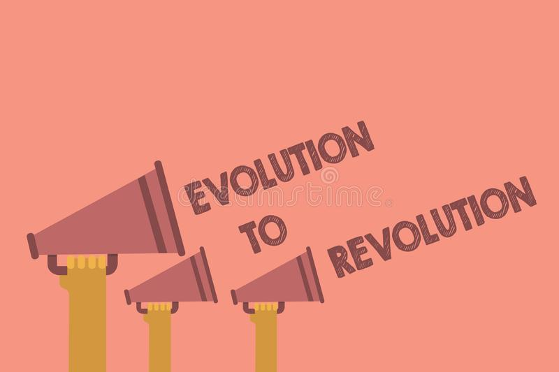 Writing note showing Evolution To Revolution. Business photo showcasing adapting to way of living for creatures and humans Hands h vector illustration