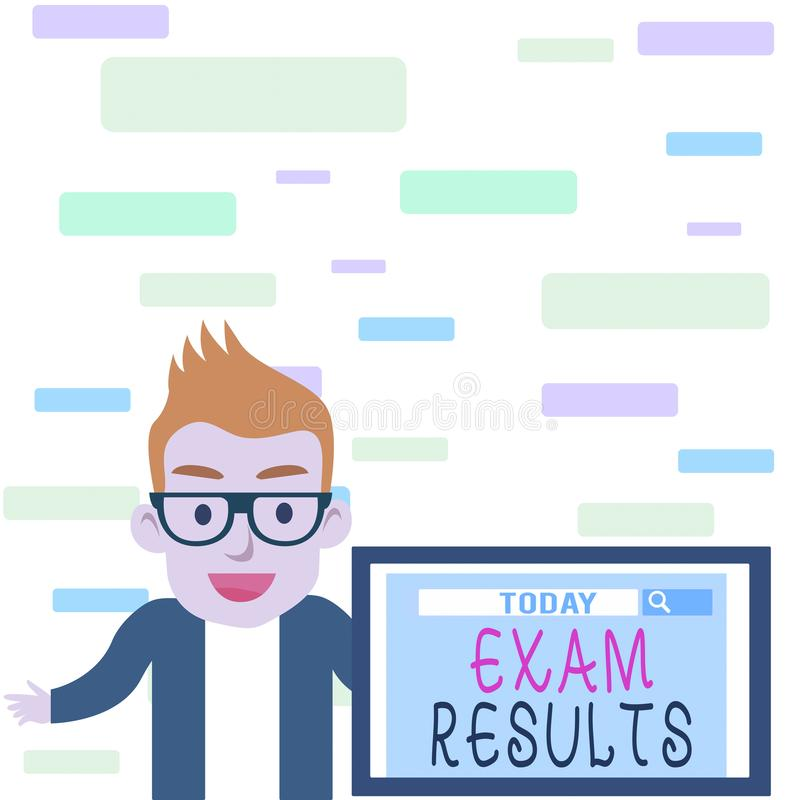 Writing note showing Exam Results. Business photo showcasing An outcome of a formal test that shows knowledge or ability. Writing note showing Exam Results vector illustration