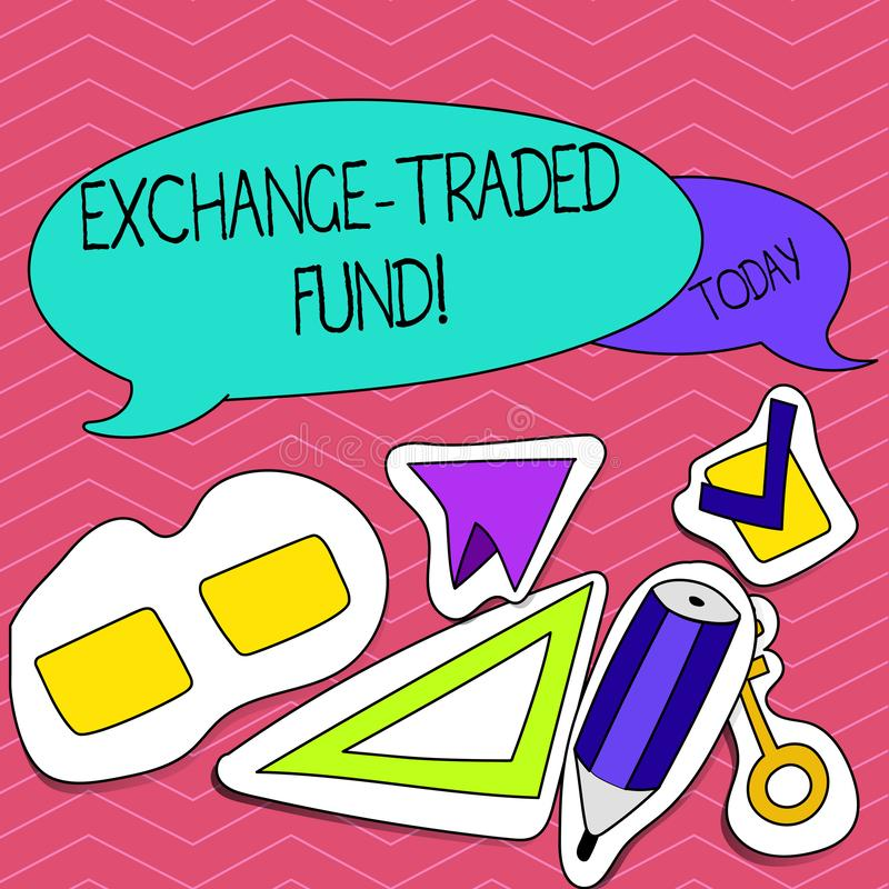 Writing note showing Exchange Traded Fund. Business photo showcasing Marketable security that tracks a stock index. vector illustration