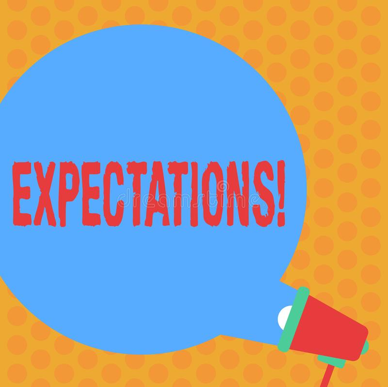 Writing note showing Expectations. Business photo showcasing hugh sales in equity market assumptions by an expert analyst Round. Speech Bubble Coming Out of stock photos