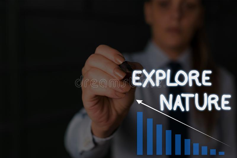 Writing note showing Explore Nature. Business photo showcasing Reserve Campsite Conservation Expedition Safari park. Writing note showing Explore Nature royalty free stock photography