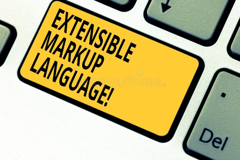 Writing note showing Extensible Markup Language. Business photo showcasing computer language that use tag to define. Element Keyboard key Intention to create royalty free stock photo
