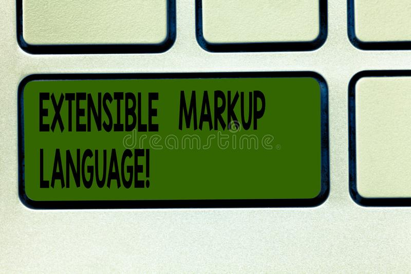 Writing note showing Extensible Markup Language. Business photo showcasing computer language that use tag to define. Element Keyboard key Intention to create stock images