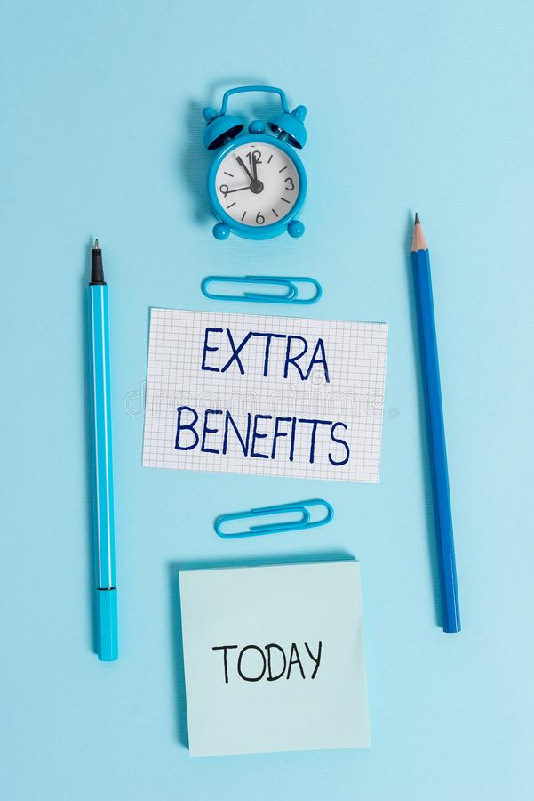 Writing note showing Extra Benefits. Business photo showcasing Additional compensation Bonus Subsidies Incentives. Writing note showing Extra Benefits. Business royalty free stock images