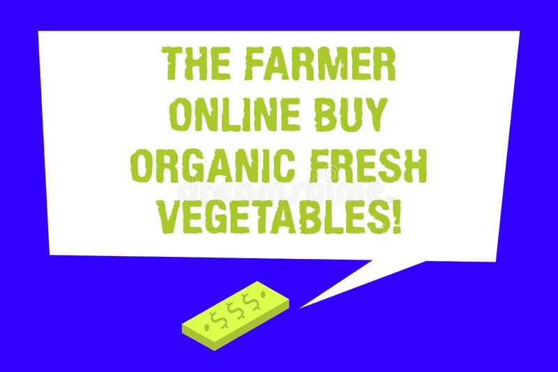 Writing note showing The Farmer Online Buy Organic Fresh Vegetables. Business photo showcasing Purchase healthy food. Rectangular Speech Bubble with Tail vector illustration
