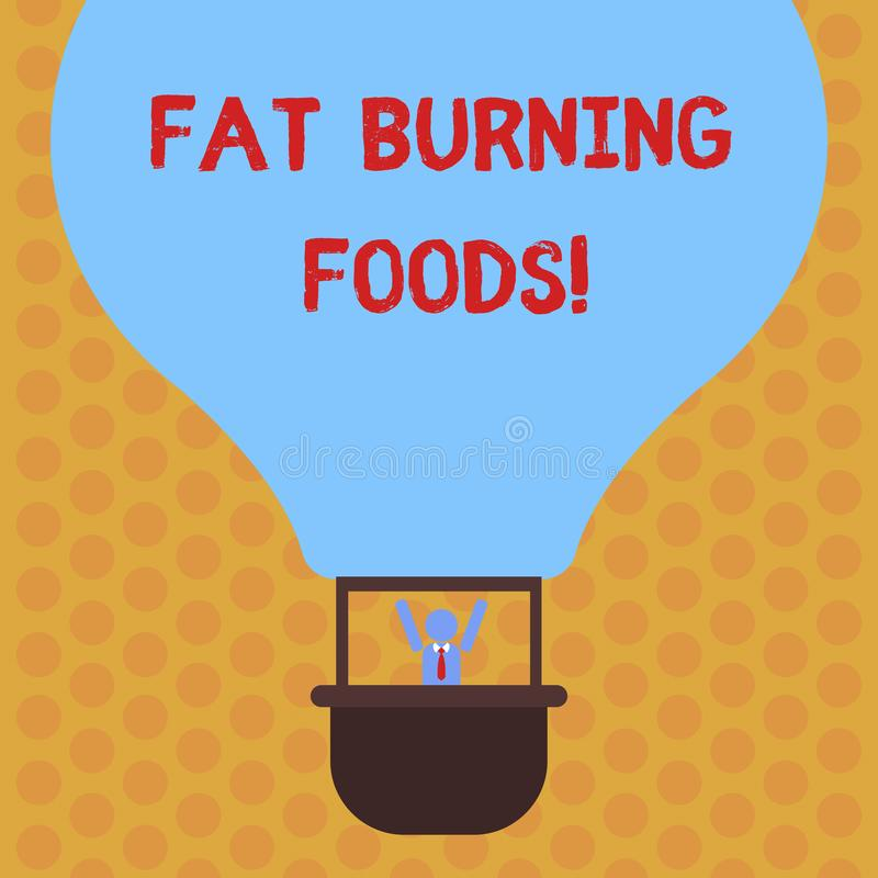 Writing note showing Fat Burning Foods. Business photo showcasing Certain types of food burn calories as you chew them. Hu analysis Dummy Arms Raising inside stock illustration