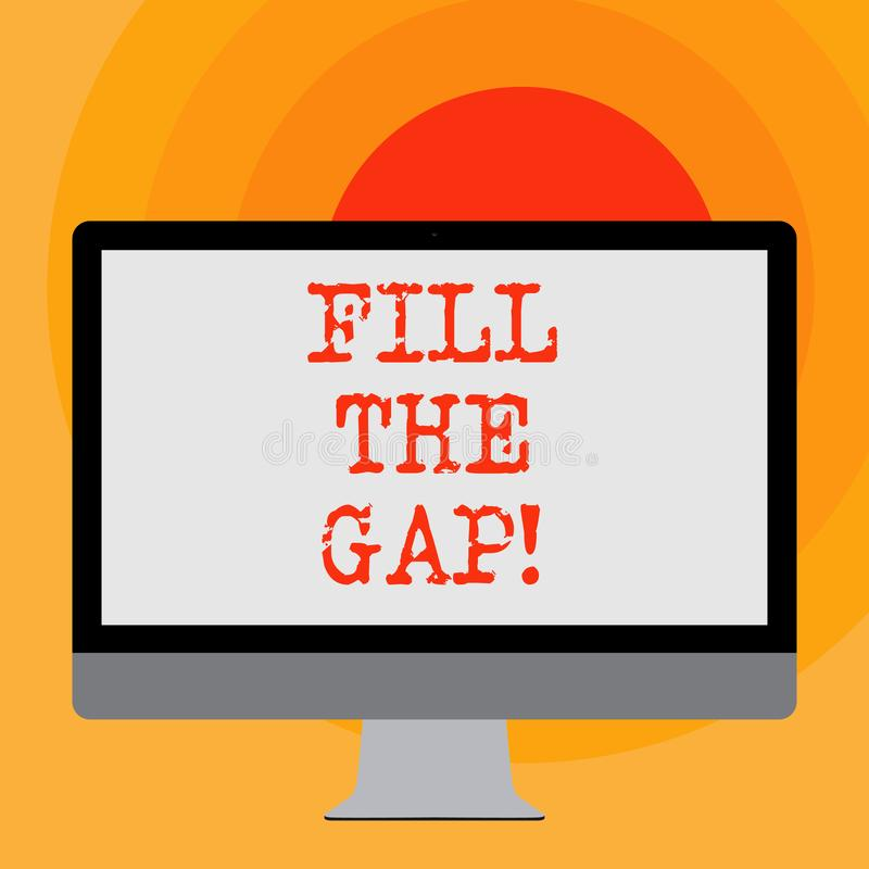 Writing note showing Fill The Gap. Business photo showcasing Put he missing part in its right place Solution to the. Puzzle vector illustration