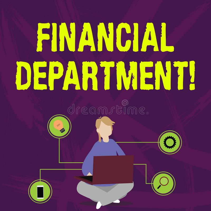 Writing note showing Financial Department. Business photo showcasing part of an organization that analysisages its money. Writing note showing Financial royalty free illustration