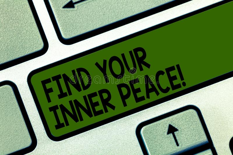 Writing note showing Find Your Inner Peace. Business photo showcasing Peaceful style of life Positivism Meditation Keyboard key. Intention to create computer stock illustration