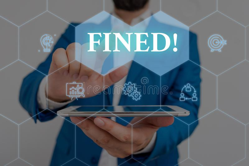 Writing note showing Fined. Business photo showcasing clarify beer by causing precipitation of sediment during. Writing note showing Fined. Business concept for royalty free stock photography