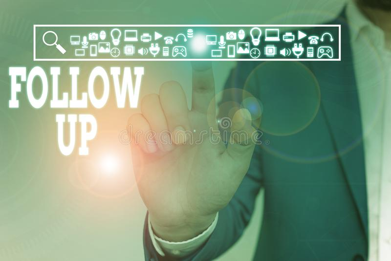Writing note showing Follow Up. Business photo showcasing Additional info or any activity that needs to check secondly. Writing note showing Follow Up. Business stock photo
