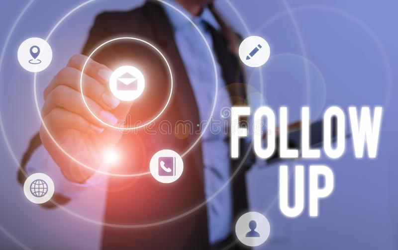 Writing note showing Follow Up. Business photo showcasing Additional info or any activity that needs to check secondly. Writing note showing Follow Up. Business royalty free stock photo
