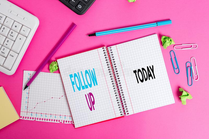 Writing note showing Follow Up. Business photo showcasing a continuation of something that has already been started. Writing note showing Follow Up. Business royalty free stock photos