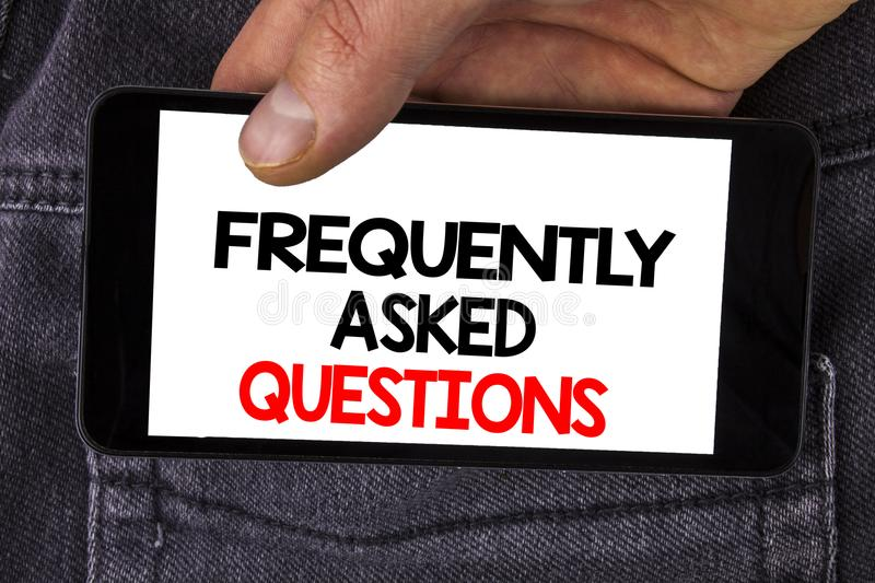 Writing note showing Frequently Asked Questions. Business photo showcasing most common inquiries Informations Help Guide written royalty free stock photos