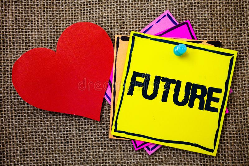 Writing note showing Future. Business photo showcasing Period of time following the present moment Events that will happen Ideas. Messages paper papers red stock photo