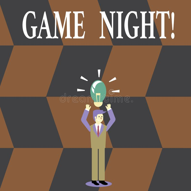 Writing note showing Game Night. Business photo showcasing usually its called on adult play dates like poker with. Writing note showing Game Night. Business stock illustration