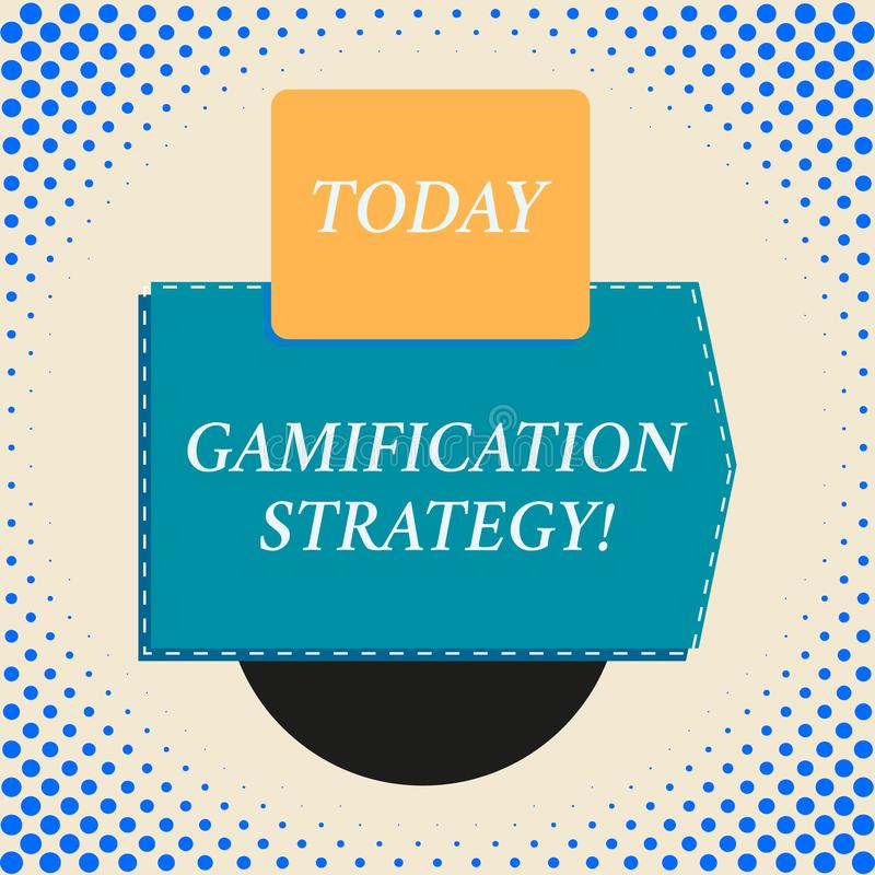 Writing note showing Gamification Strategy. Business photo showcasing use Rewards for Motivation Integrate Game. Writing note showing Gamification Strategy stock illustration