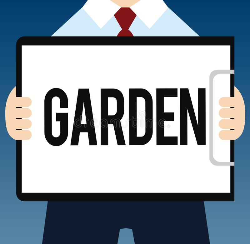 Writing note showing Garden. Business photo showcasing piece ground adjoining house used for growing flowers or. Vegetables vector illustration