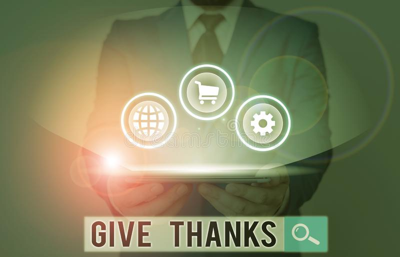 Writing note showing Give Thanks. Business photo showcasing express gratitude or show appreciation Acknowledge the stock photography