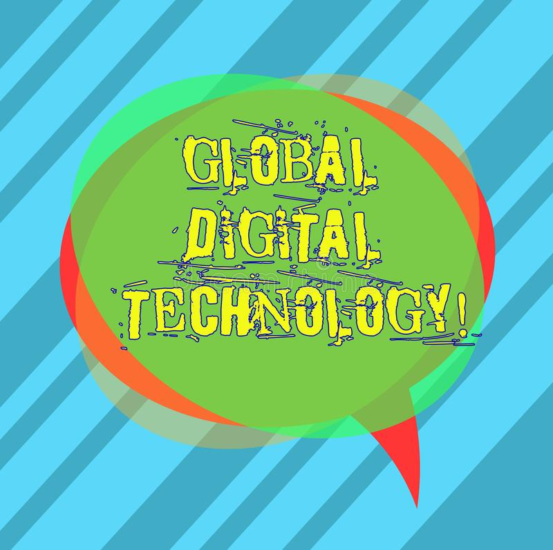 Writing note showing Global Digital Technology. Business photo showcasing Digitized information in the form of numeric code Blank. Speech Bubble photo and Stack stock images