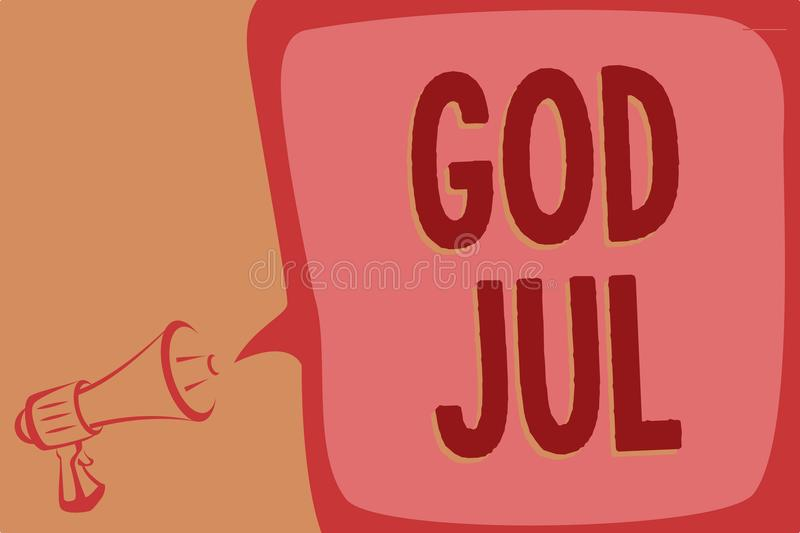 Writing note showing God Jul. Business photo showcasing Merry Christmas Greeting people for new year happy holidays Megaphone loud. Speaker speech bubble vector illustration