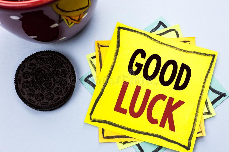 Writing note showing Good Luck. Business photo showcasing Lucky Greeting Wish Fortune Chance Success Feelings Blissful written on. Writing note showing Good Luck royalty free stock images