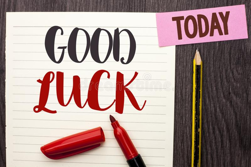 Writing note showing Good Luck. Business photo showcasing Lucky Greeting Wish Fortune Chance Success Feelings Blissful written on. Writing note showing Good Luck stock photos