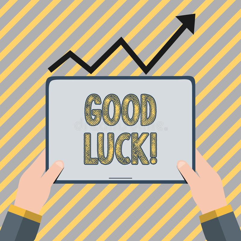 Writing note showing Good Luck. Business photo showcasing used praising demonstrating or group for something done good. Writing note showing Good Luck. Business stock illustration