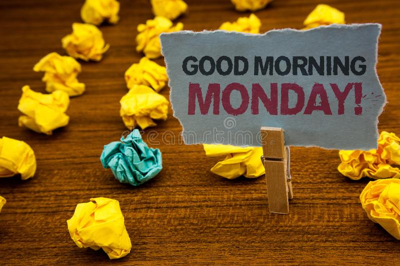 Writing note showing Good Morning Monday Motivational Call. Business photo showcasing Happy Positivity Energetic Breakfast Cardbo. Ard with letters wooden floor stock photos
