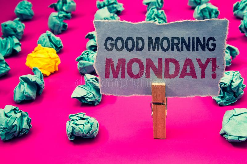 Writing note showing Good Morning Monday Motivational Call. Business photo showcasing Happy Positivity Energetic Breakfast Emeral. D paper balls yellow lump rosy royalty free stock images