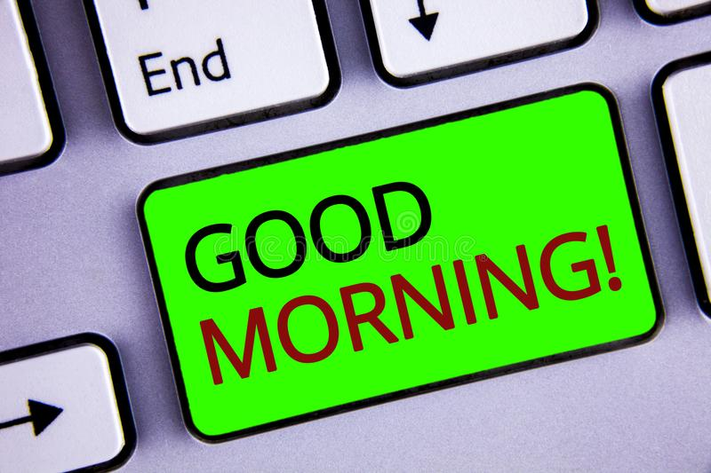 Writing note showing Good Morning Motivational Call. Business photos showcasing Greeting Wishes for a great day Inspirational. Writing note showing Good Morning royalty free stock photography