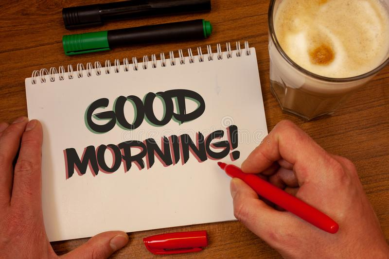 Writing note showing Good Morning Motivational Call. Business photos showcasing Greeting Wishes for a great day Inspirational. Writing note showing Good Morning stock images