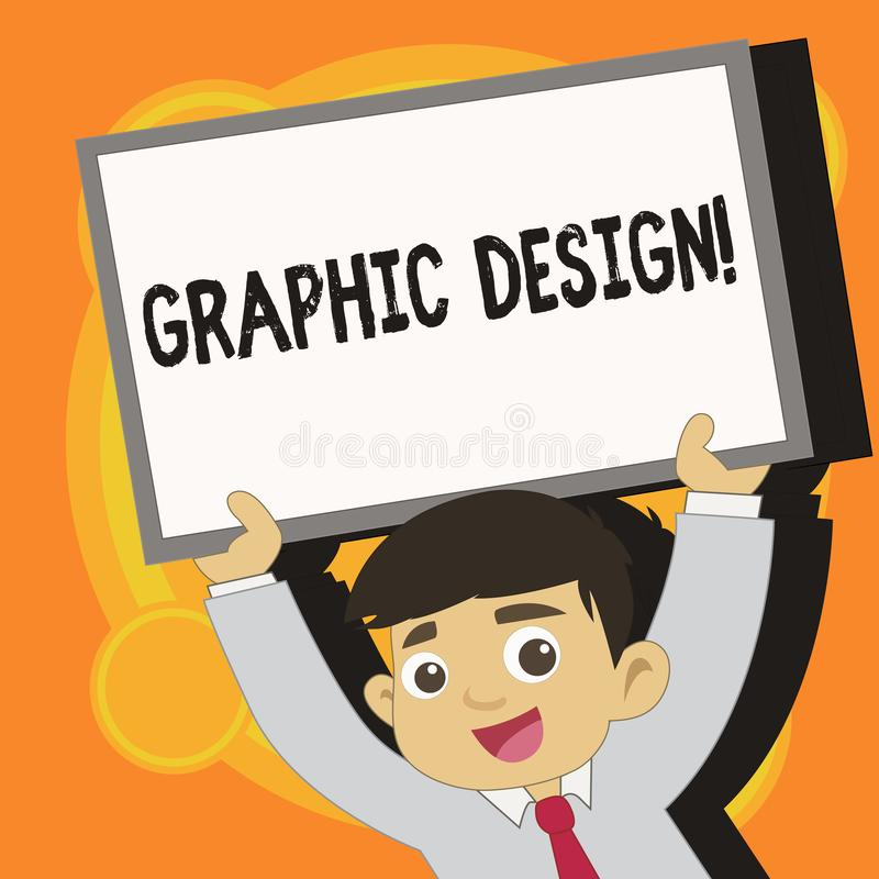 Writing note showing Graphic Design. Business photo showcasing Art of combining Text Images in advertising Young Student. Writing note showing Graphic Design royalty free illustration
