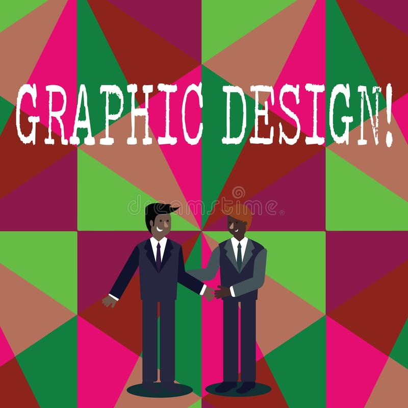 Writing note showing Graphic Design. Business photo showcasing Art of combining Text Images in advertising Businessmen. Writing note showing Graphic Design royalty free illustration
