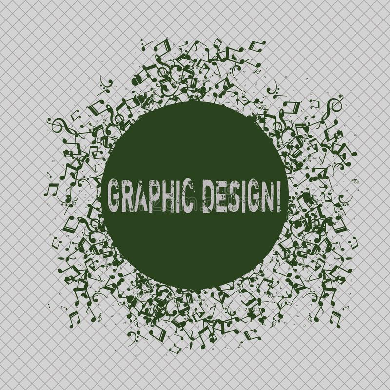 Writing note showing Graphic Design. Business photo showcasing Art of combining Text Images in advertising Disarrayed. Writing note showing Graphic Design royalty free illustration