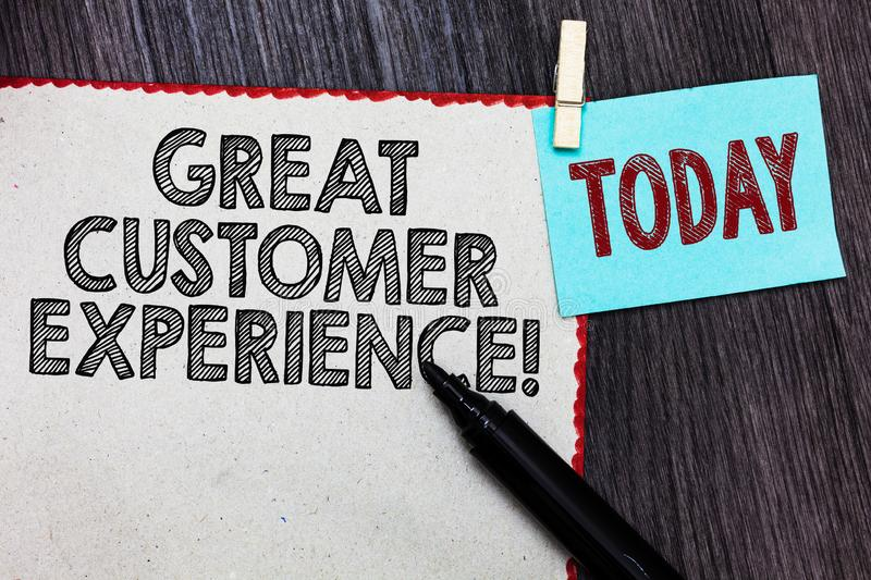 Writing note showing Great Customer Experience. Business photo showcasing responding to clients with friendly helpful way White pa. Ge red borders marker stock image