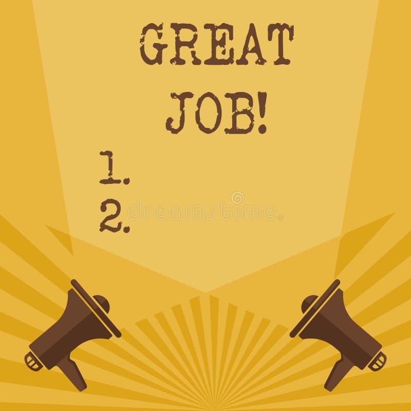 Writing note showing Great Job. Business photo showcasing used praising someone for something they have done very well. Writing note showing Great Job. Business stock illustration