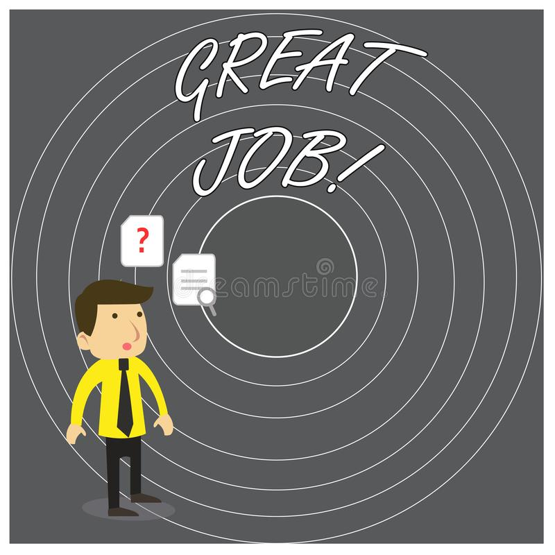 Writing note showing Great Job. Business photo showcasing used praising someone for something they have done very well. Writing note showing Great Job. Business vector illustration