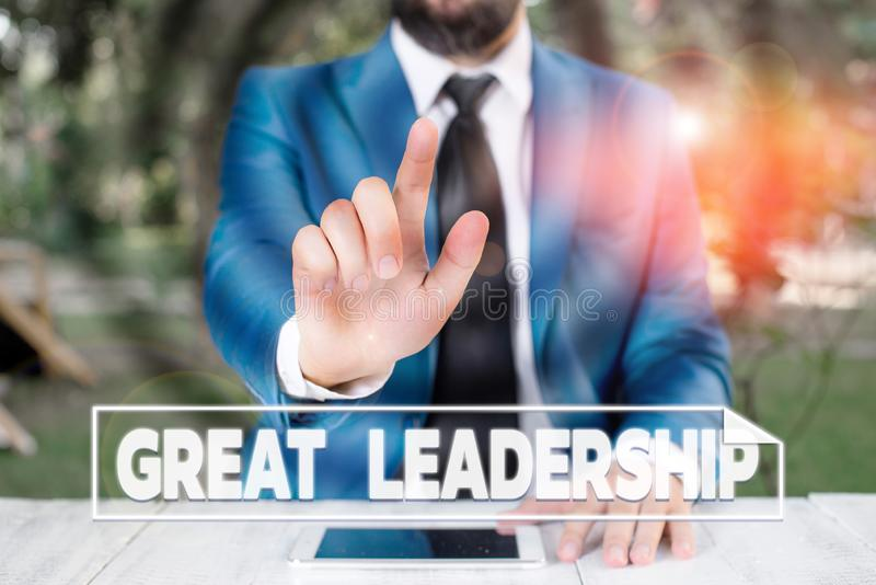 Writing note showing Great Leadership. Business photo showcasing motivating showing to act towards achieving a common. Writing note showing Great Leadership royalty free stock photos