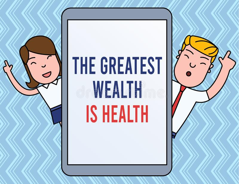 Writing note showing The Greatest Wealth Is Health. Business photo showcasing Many sacrifice their money just to be. Writing note showing The Greatest Wealth Is stock illustration