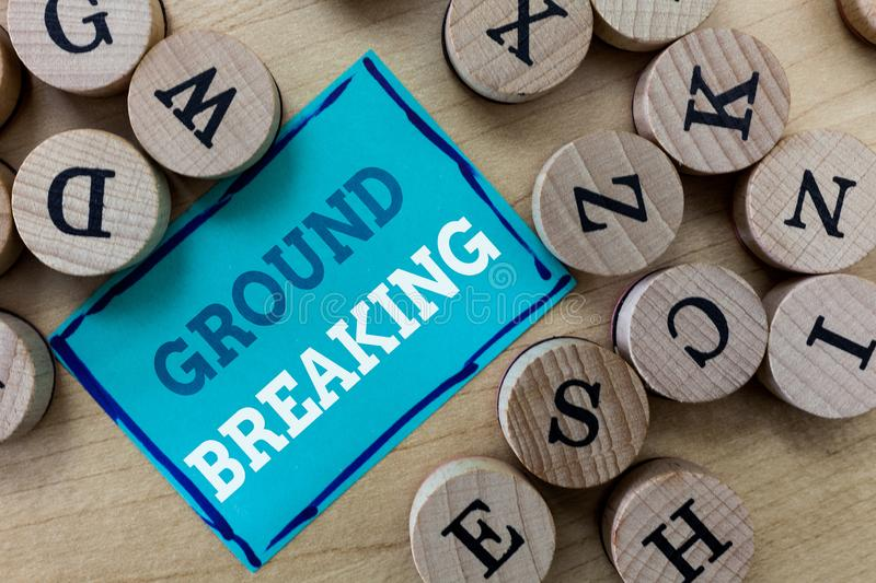 Writing note showing Ground Breaking. Business photo showcasing Very new and a big change from other things of its type.  royalty free stock images